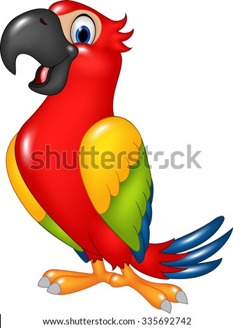 Cartoon funny parrot isolated on white background - stock vector
