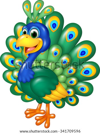 Cartoon funny peacock isolated on white background - stock vector