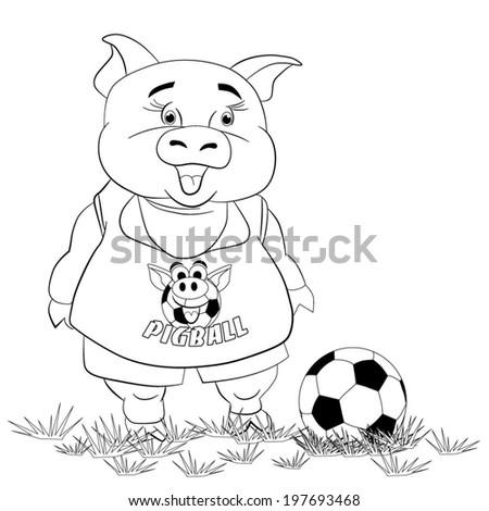 Cartoon Funny Piggyfootballer Football On Lawn Stock Vector ...