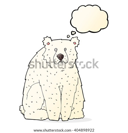 cartoon funny polar bear with thought bubble - stock vector