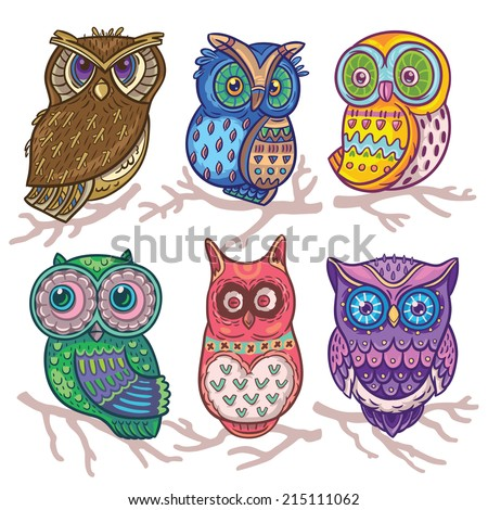 Cartoon funny set with cute owls. Vector hand drawn illustration - stock vector