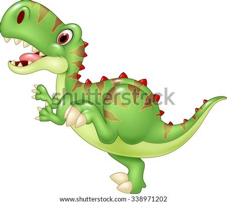 Cartoon funny tyrannosaurus. Isolated on white background - stock vector