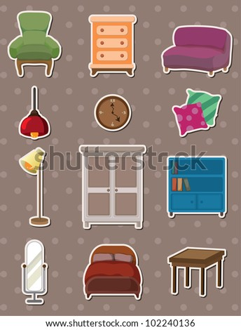 cartoon furniture stickers - stock vector