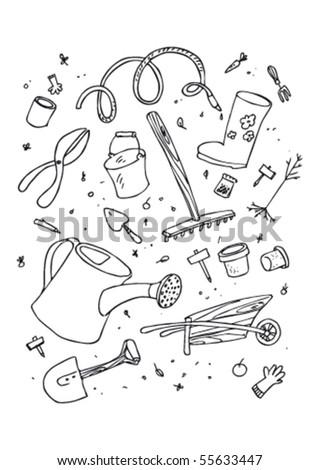 cartoon garden tool, hand drawn design set. - stock vector