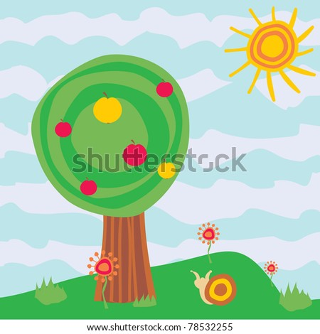 cartoon garden with apple-tree and flowers - stock vector