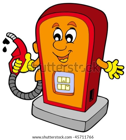Cartoon gas station - vector illustration. - stock vector