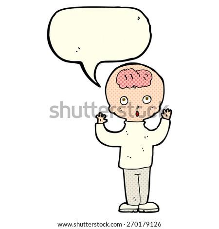 cartoon genius with speech bubble - stock vector