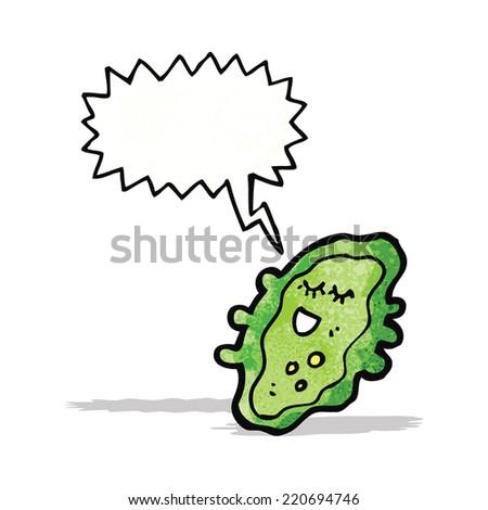 cartoon germ with speech bubble - stock vector