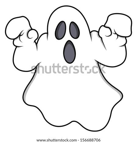 cartoon ghost - Halloween vector illustration - stock vector