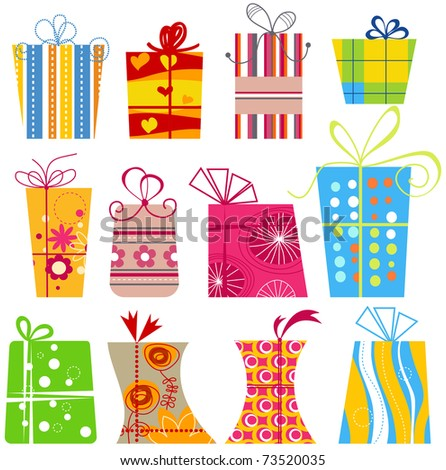 Cartoon gift boxes collection - stock vector