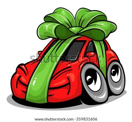 Cartoon gift car - stock vector