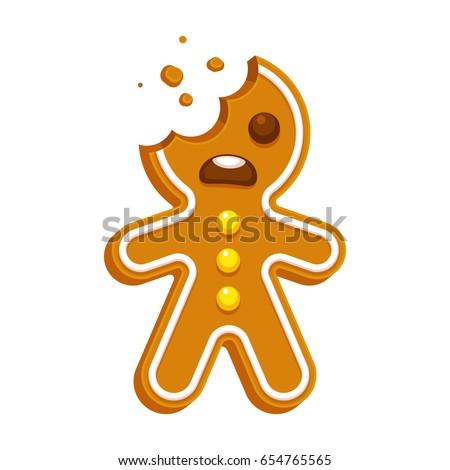 Cartoon gingerbread man bite missing funny stock vector 654765565 cartoon gingerbread man with bite missing funny christmas cookie vector illustration voltagebd Images