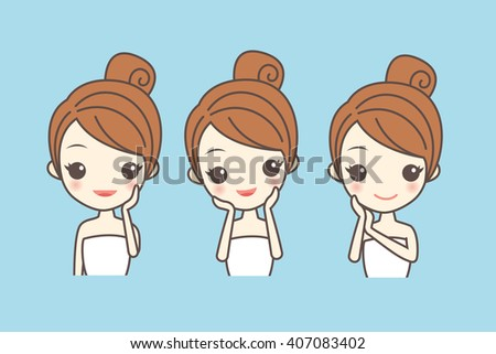 cartoon girl care her face with various actions, facial, beauty - stock vector