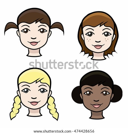 Cartoon girl faces, isolated vector