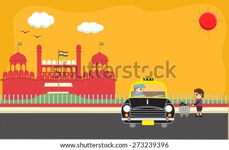 Cartoon Girl Hire a Taxi after Shopping - stock vector