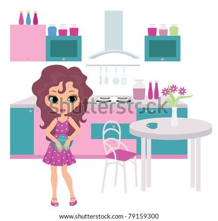 Cartoon girl on kitchen bears a teapot.  vector, no gradient, color full - stock vector