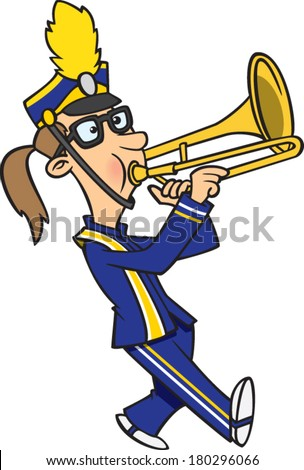 Marching Band Hat Cartoon cartoon girl playing a