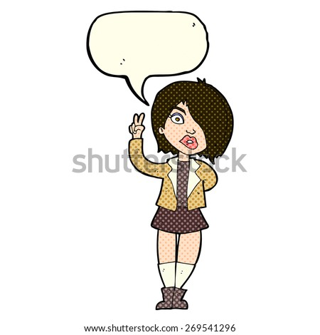 cartoon girl with attitude - stock vector