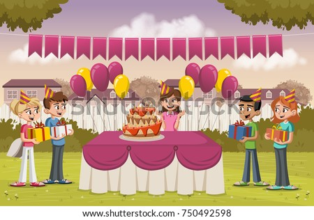 Cartoon Girl Her Friends Birthday Party Stock Vector