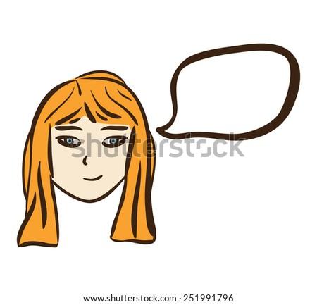 Cartoon girl with speech bubble. - stock vector