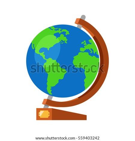 Cartoon globe world map on wooden stock vector 559403242 cartoon globe with world map on wooden stand and golden plate 3d flat vector illustration sciox Images
