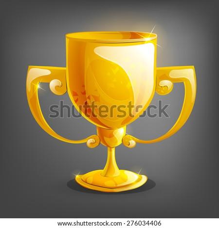 Cartoon gold cup. Vector illustration. - stock vector