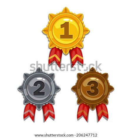 Cartoon gold, silver and bronze medals, isolated vector - stock vector