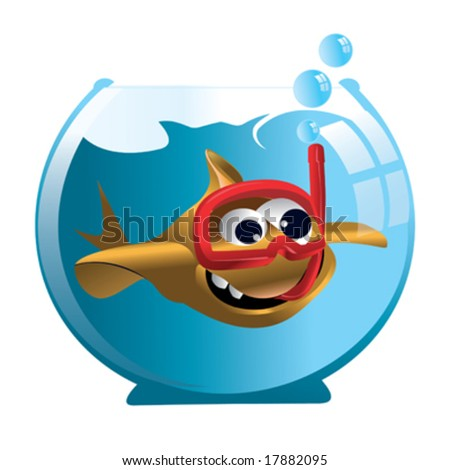 cartoon goldfish in aquarium - stock vector