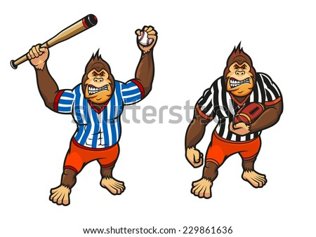 Cartoon gorilla playing baseball and rugby wielding a baseball bat and carrying a football, vector illustration on white - stock vector