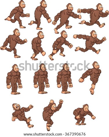 Cartoon gorilla, ready for animation. Vector clip art illustration with simple gradients. Each on a separate layer. - stock vector