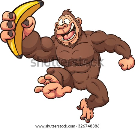 Cartoon gorilla with banana. Vector clip art illustration with simple gradients. All in a single layer.  - stock vector