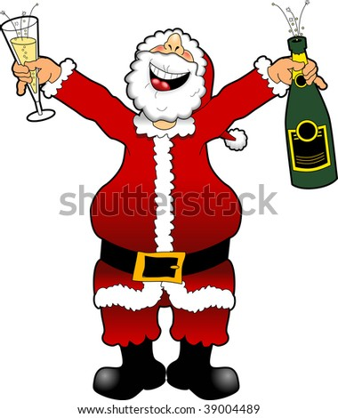 cartoon graphic depicting Santa Claus celebrating the New Year
