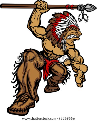 Cartoon Graphic of a native American Indian Chief Mascot holding a spear - stock vector
