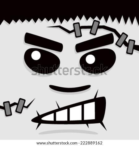 Cartoon Gray Frank Face - stock vector
