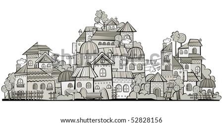 cartoon grayscale vector construction town - stock vector