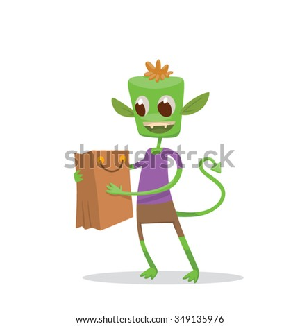 Cartoon green little monster in purple t-short standing and looking in the shopping bag with happiness. He sees in the shopping bag something interesting, vector illustration - stock vector