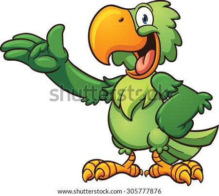 Cartoon green parrot. Vector clip art illustration with simple gradients. Each  part on a separate layer. - stock vector