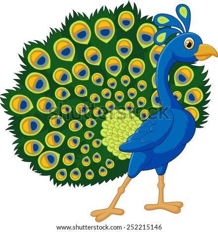 Cartoon green peacock - stock vector