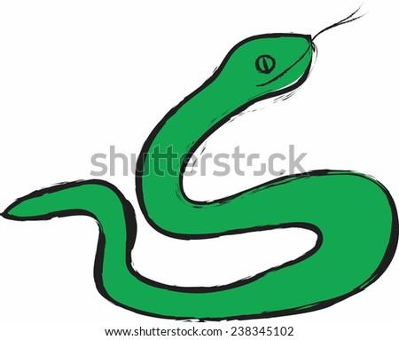 cartoon green snake vector - stock vector