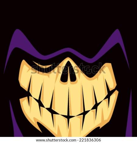 Cartoon Grim Reaper Face - stock vector