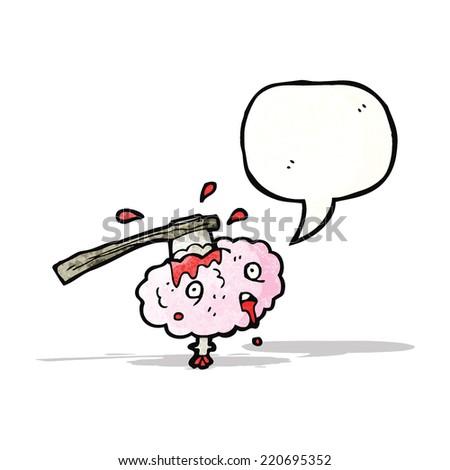 cartoon gross brain - stock vector