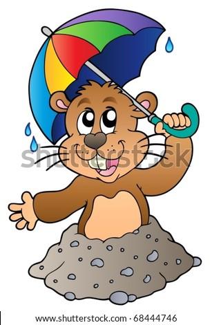 Cartoon groundhog with umbrella - vector illustration. - stock vector
