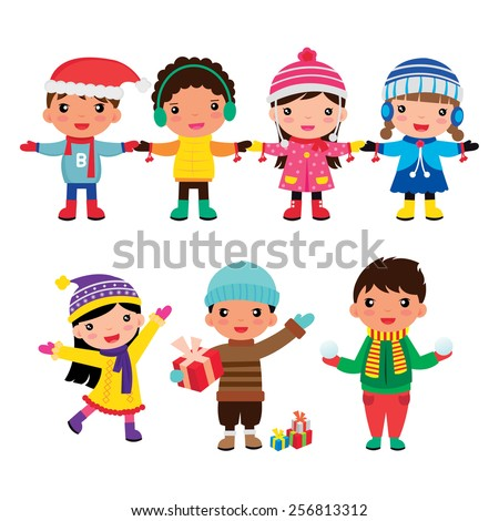cartoon group of child winter boys and girls - stock vector