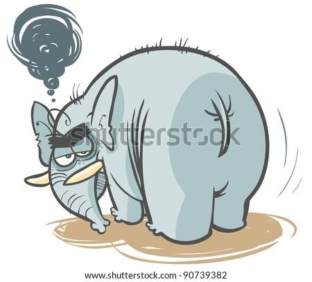 Cartoon grumpy Elephant. - stock vector