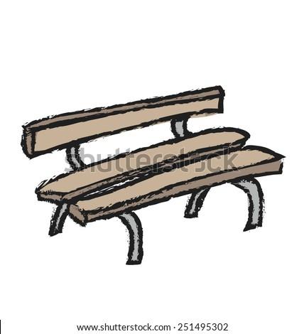 cartoon grunge bench, vector illustration design elements - stock vector