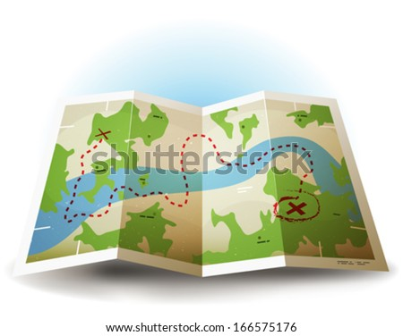 Cartoon Grunge Earth Map Icon/ Illustration of a symbolized earth and treasure map icon with countries, river, and legends and grunge texture - stock vector