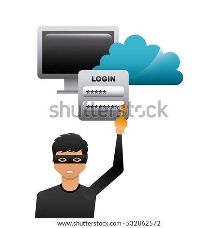 cartoon hacker man holding a key and  with monitor computer and cloud icon over white background. cyber security concept. colorful design. vector illustration