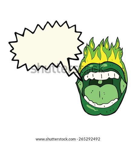 cartoon halloween mouth with speech bubble - stock vector