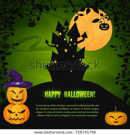 Cartoon Halloween Night Greeting Template With Scary Castle On Hill Evil  Pumpkins And Tree Branches Vector