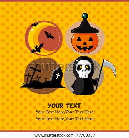 cartoon Halloween  party card - stock vector